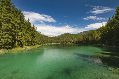 intensely: The intensely green Untersee as part of lake Eibsee near Garmisch-Partenkirchen, Germany in summer. Stock Photo