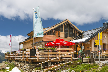 SEE - JULY 16: The renewed Ascher Hut near See in the Paznaun Valley, Austria on July 16, 2016. Editorial