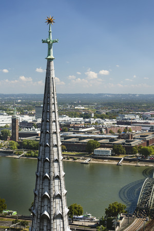 COLOGNE - SEPTEMBER 6: High angle view to the Rhine River and Deutz in Cologne, Germany on September 6, 2016