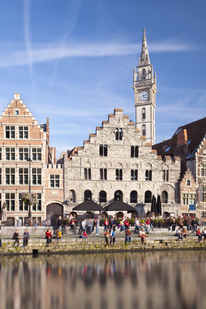 Daytime long exposure shot of the famous old houses at Graslei in Ghent, Belgium.