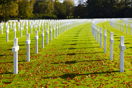 White crosses under a tree at the American military cemetery Henri-Chapelle near Aubel in Belgium, some foliage in the foreground. Stock Photo
