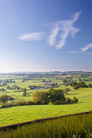 Green hill landscape in the east of Belgium (province Liege) near Aubel. Stock Photo