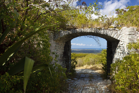 Entrance to Great Fort George on Monks Hill in Antigua. Stock Photo