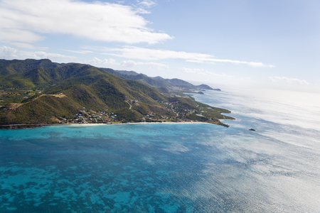 View from a helicopter to Turners Beach and Johnsons Point in Antigua.