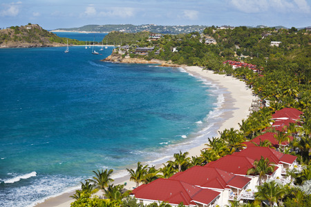 The beautiful beach of Galley Bay in Antigua. Stock Photo