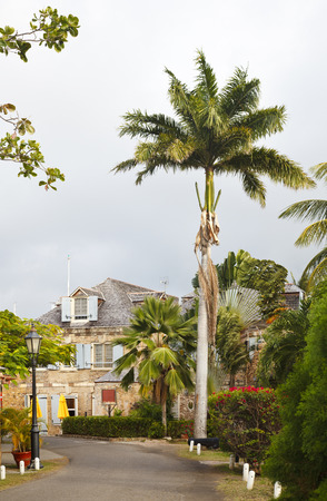 Old road and buildings at Nelson's Dockyard in Antigua.
