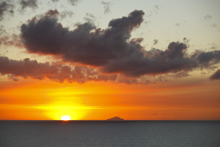 Sunset near Redonda seen from Antigua, the red color resulting of the ash trail from Montserrats volcano.