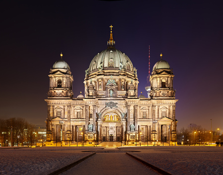 Berlin cathedral at night in winter. Ultra high resolution double row panorama.