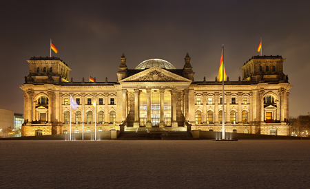 The german Reichstag building in Berlin in a cold winter night. Ultra high resolution double row panorama.
