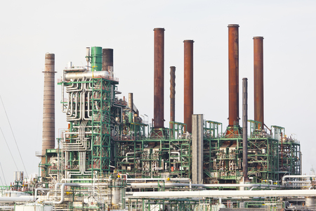Detail shot of a large refinery complex.