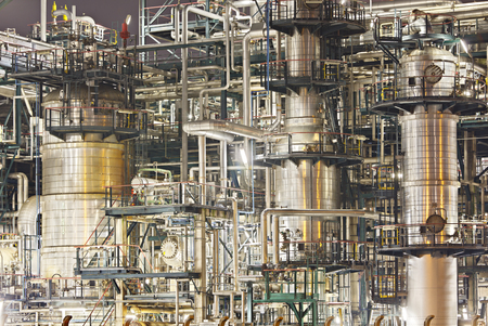 An oil refinery in the harbor of Antwerp. 스톡 콘텐츠