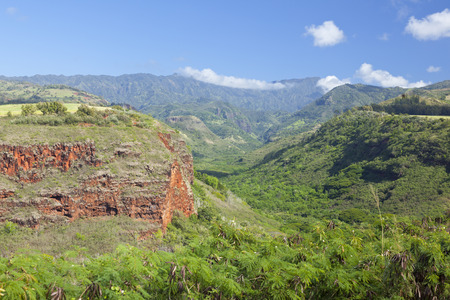 Hanapepe Canyon seen from the highway lookout in Kauai, Hawaii. Stock Photo