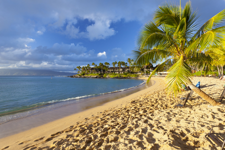 The beautiful Napili Bay in Maui, Hawaii short before sunset.
