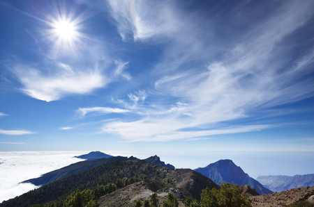View from the rim of the Caldera de Taburiente to the southern volcanos in La Palma, Spain.