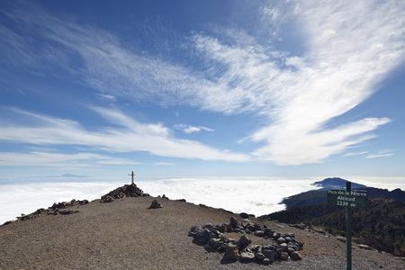 On top of the Pico de la Nieve in La Palma, Spain with view to Tenerife.