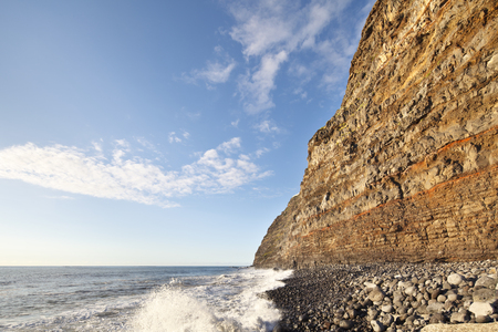 Cliff coastline at Puerto de Tazacorte in La Palma, Spain. Perspective corrected via lens shift.