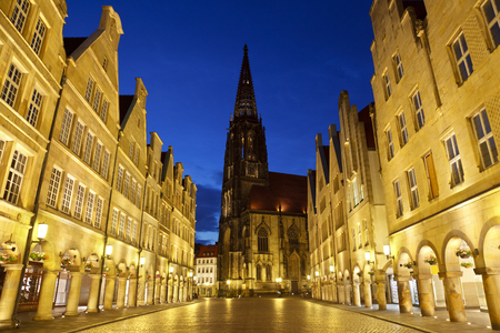 The famous Prinzipalmarkt with the Lamberti Church in Muenster, Germany. 스톡 콘텐츠