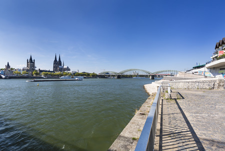 COLOGNE - SEPTEMBER 6: The Rhine River in front of the Hohenzollern Bridge and the cathedral in Cologne in Germany on September 6, 2016