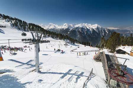 OETZ - MARCH 21: Mountain side station of the Hochoetz chair lift in the Oetztal, Austria on March 21, 2016.