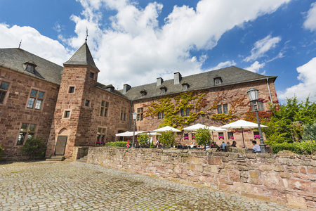 NIDEGGEN - AUGUST 14: View from a wall over the court of the castle Burg Nideggen in the Eifel, Germany on August 14, 2016.