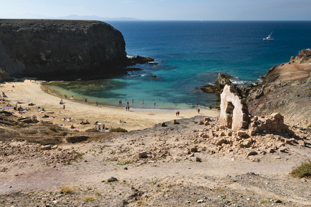 LANZAROTE - JANUARY 13: The beautiful beach Playa de Papagayo in Lanzarote, Spain on January 13, 2016.