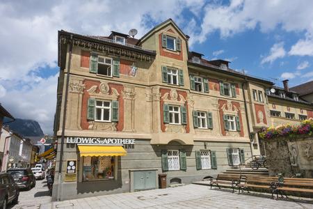 GARMISCH - JULY 6: The old Ludwigs-Apotheke pharmacy building in Garmisch-Partenkirchen, Germany in summer on July 6, 2016. Editorial