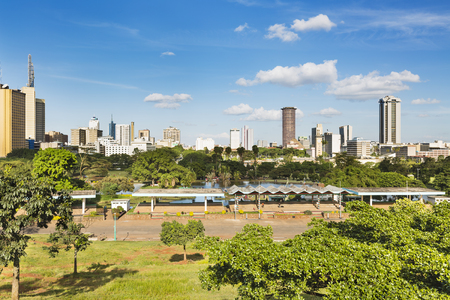 View of the skyline of Nairobi, Kenya with Uhuru Park in the foreground. Фото со стока