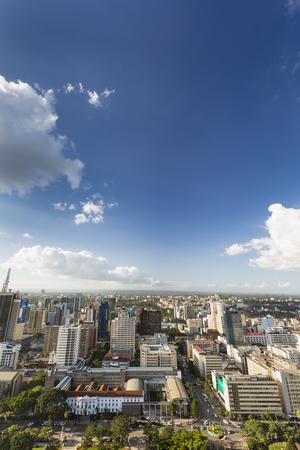 Nairobi, Kenya - December 23: Modern highrises and streets in the business district of Nairobi, Kenya on December 23, 2015
