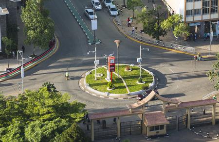 Nairobi, Kenya - December 23: Roundabout and KICC area entrance at City Hall Road in Nairobi, Kenya on December 23, 2015