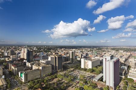 Nairobi, Kenya - December 23: View over the northern part of the business district of Nairobi, Kenya, with the Hilton Hotel in the center on December 23, 2015