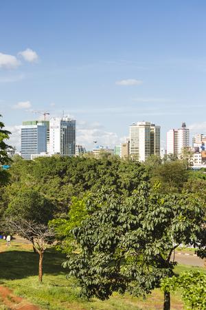 Nairobi, Kenya - December 24: View over Uhuru Park to the skyline of Nairobi, Kenya on December 24, 2015