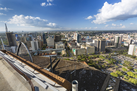 Nairobi, Kenya - December 23: View from the KICC observation platform over the business district of Nairobi, Kenya on December 23, 2015 Editorial