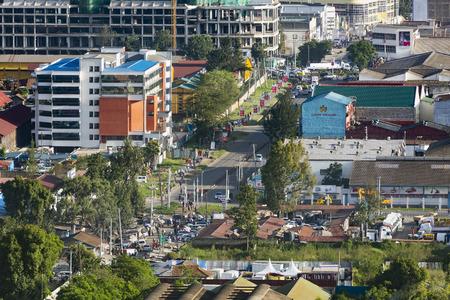 Nairobi, Kenya - December 23: High angle view of a street in central Nairobi, Kenya on December 23, 2015 Editorial