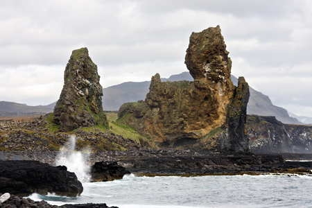 These volcanic rocks are located on the south side of the Snaefellsnes peninsula in Iceland and are up to 70m tall.