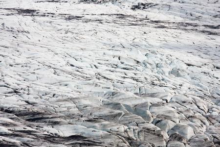 The surface of the Skaftafellsjoekull in Iceland.