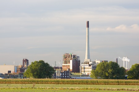 A chemical plant with evening light.