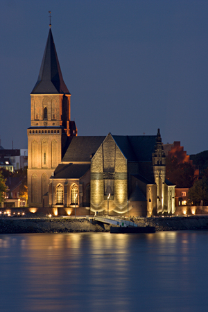 A church in Emmerich, Germany. View over Rhine river. Stock Photo