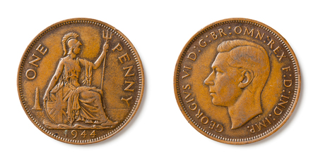 A british one penny coin from 1944 with king George VI.