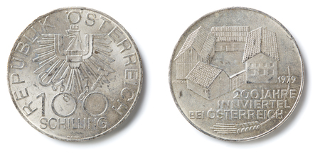 Front and back of an one hundred Schilling special coin from Austria.