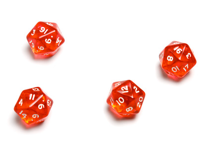 Twenty Sided Dices (d4) translucent in red. Stock Photo