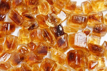 Brown sugar crystals.
