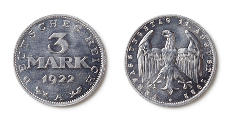Front and back side of a 3 Mark aluminium coin from 1891. They were made in the German Empire (Deutsches Reich) during the hyper inflation time until 1923, it is the only 3 Mark coin ever made in Germany. Stock Photo