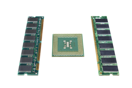An old CPU and two modules of RAM isolated on white.