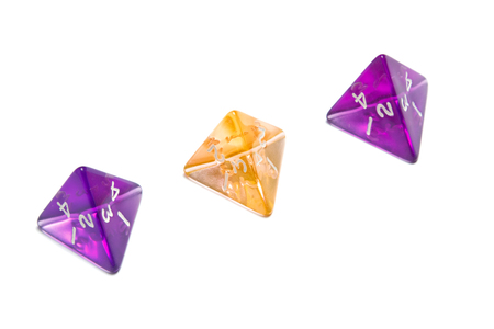 Four Sided Dices (d4) translucent in purple and orange.