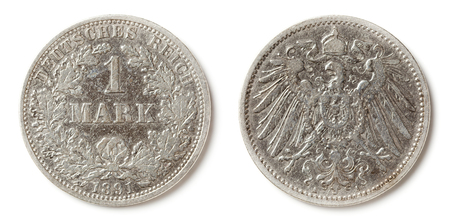 Front and back side of a 1 Mark coin from 1891. They were made in the German Empire (Deutsches Reich) until 1918. Stock Photo