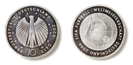 Front and back side of a specially minted 10 Euro coin for the 2006 football Stock Photo