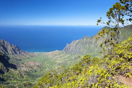 The famous Kalalau Valley in Kauai, Hawaii. Stock Photo