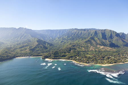 View from helicopter down to Tunnels Beach and Haena Beach in Kauai, Hawaii.