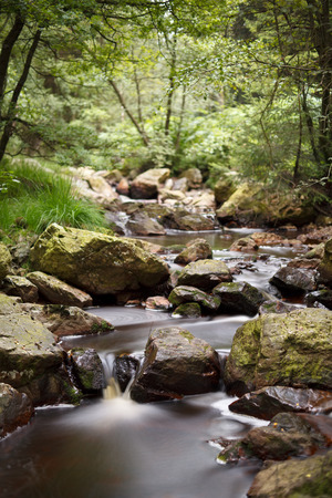 A brook in the High Fens (Hohes Venn, Hautes Fagnes) in eastern Belgium. Long exposure shot.