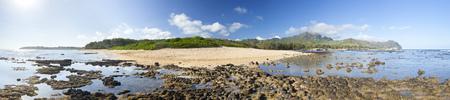 Panorama at Mahaulepu Beach in Kauai, Hawaii.